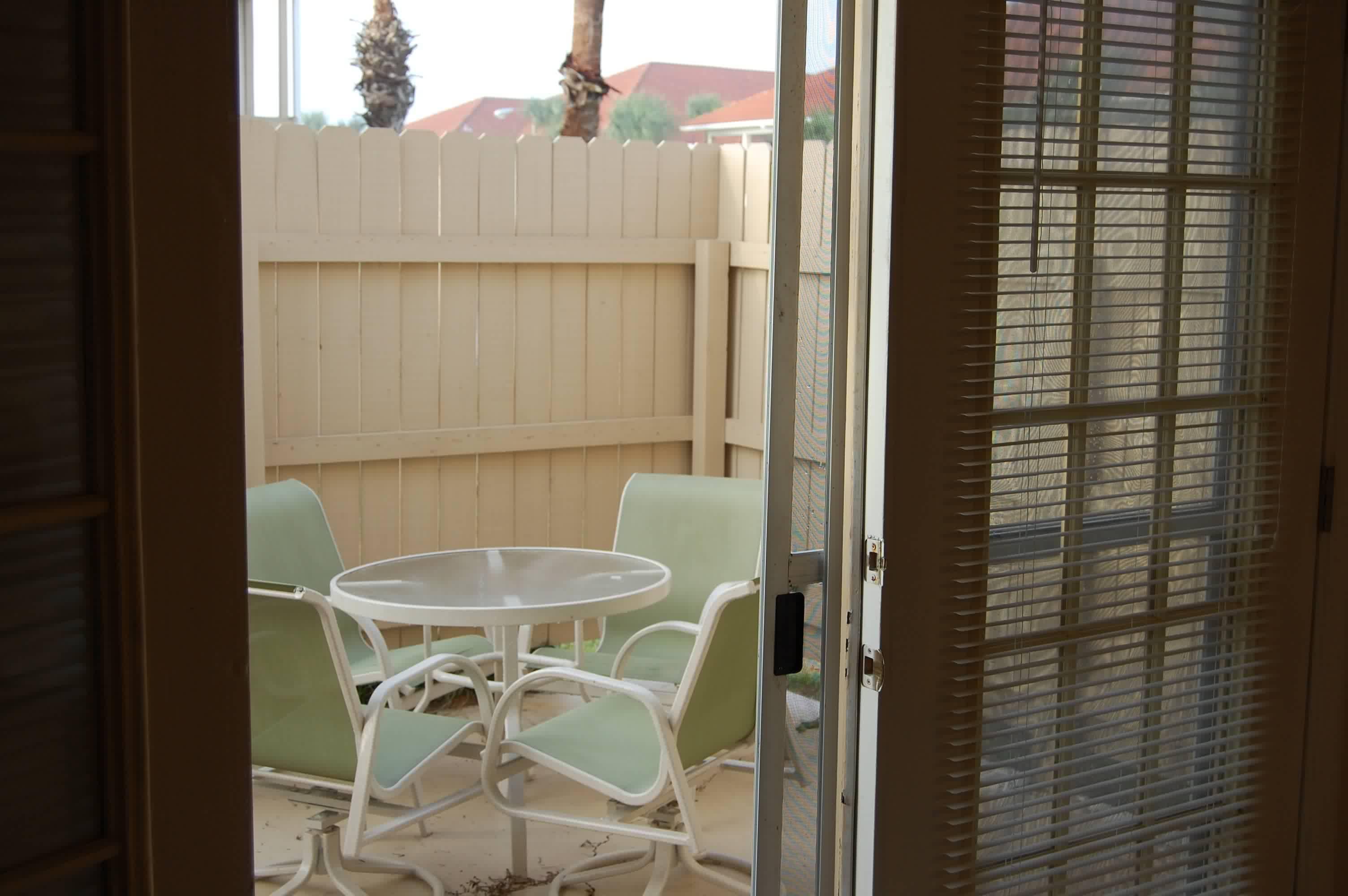 Enclosed patio adjoining den